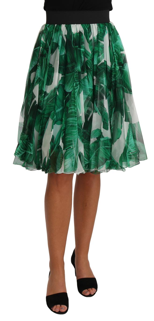 657379 Green Banana Leaf Crystal Silk Aline Skirt.jpg
