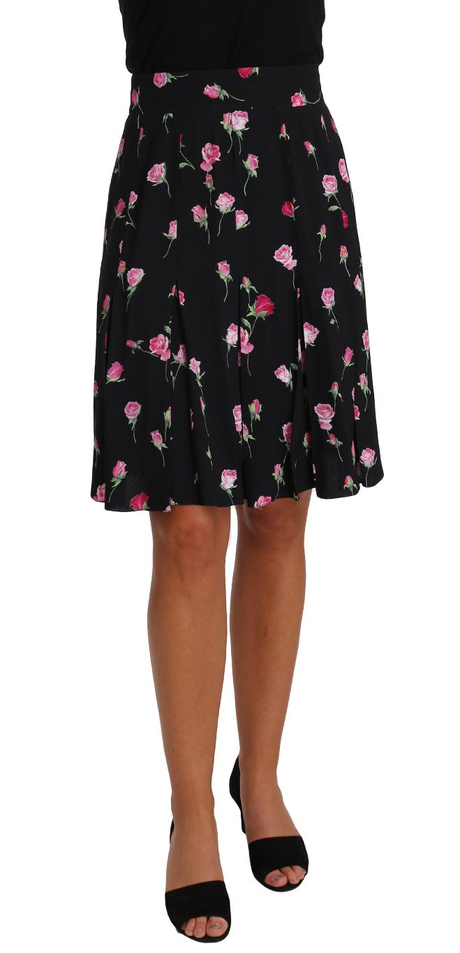 657532 Black Rose Print Floral Knee Length Skirt.jpg