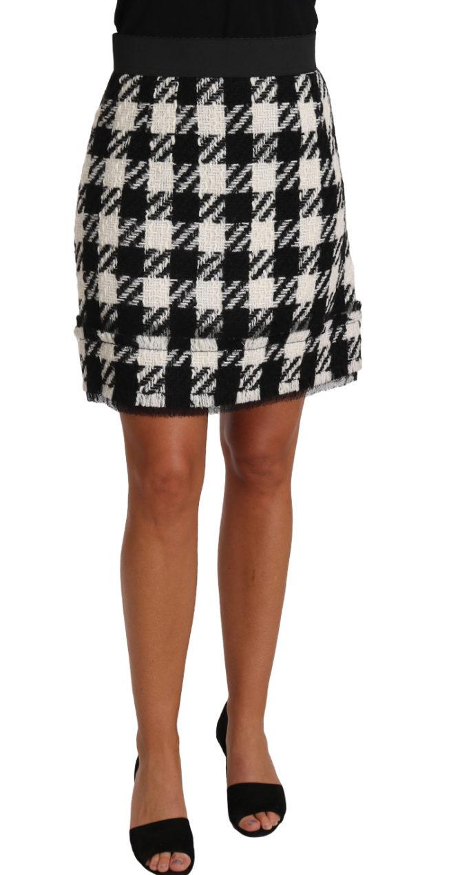 657551 Plaid Pattern Checkered Wool Mini Skirt.jpg