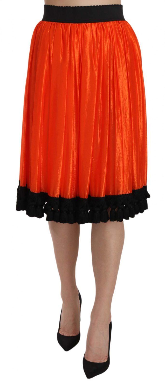 657694 Orange High Waist Knee Length Skirt.jpg