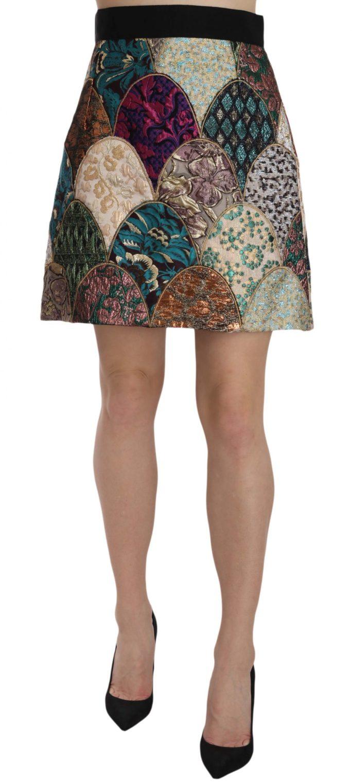 657719 Patchwork Pattern High Waist Mini Jaquard Skirt.jpg