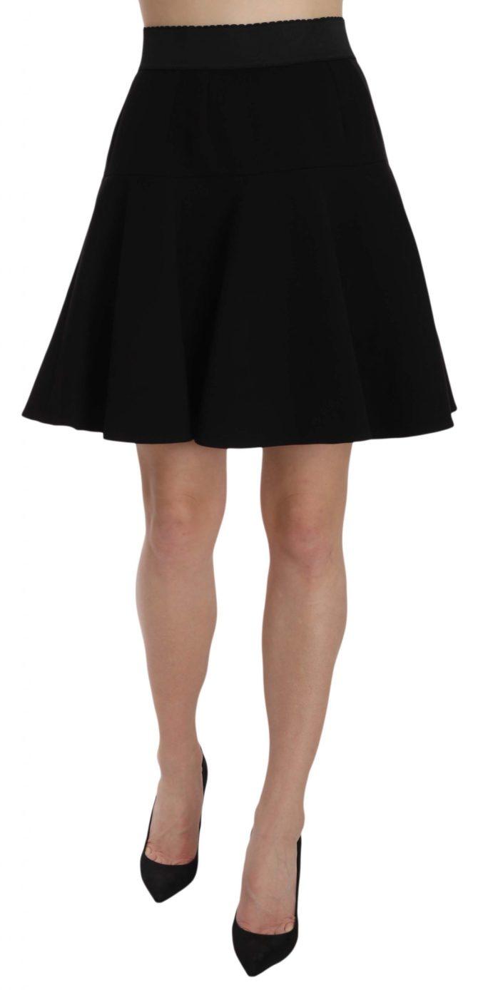 657736 Black Solid A Line Fluted High Waist Mini Skirt.jpg