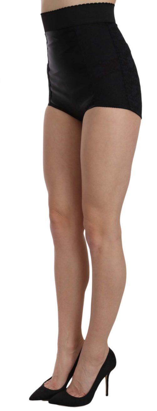 657752 Black High Waist Short Floral Shorts 1.jpg