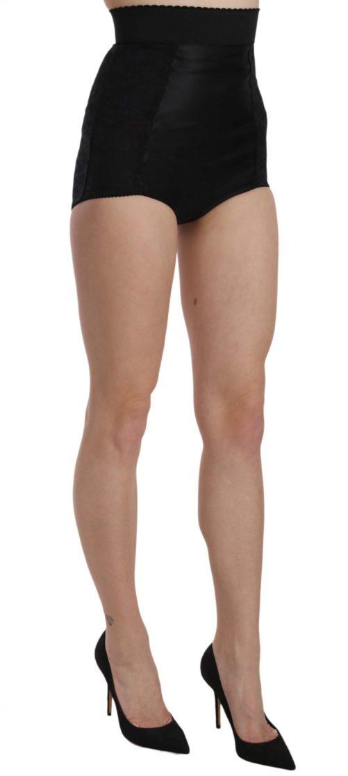 657752 Black High Waist Short Floral Shorts 3.jpg
