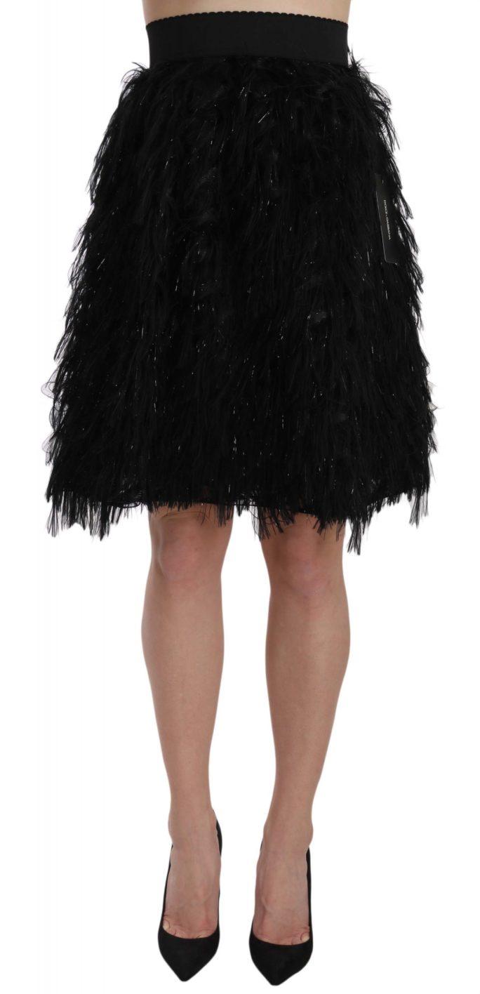 657798 Black Fringe Metallic Mini A Line Skirt.jpg