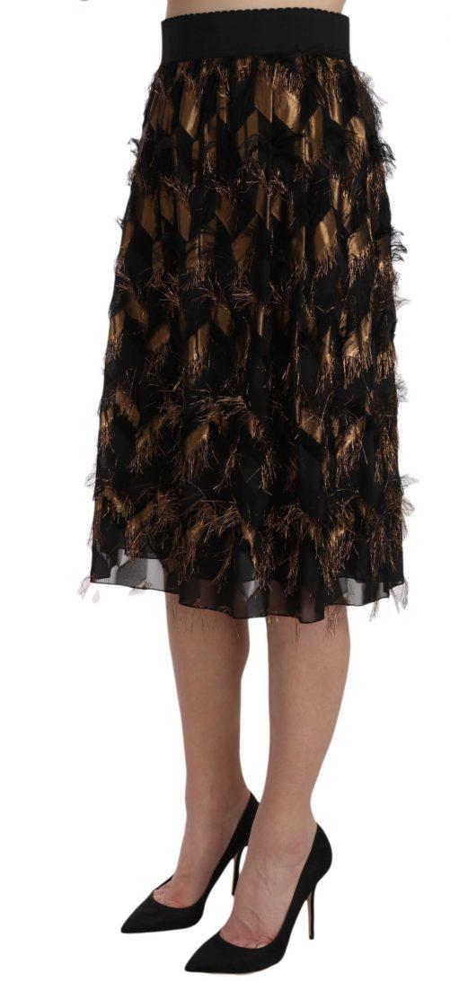 657844 Black Gold Fringe Metallic Pencil A Line Skirt 4.jpg