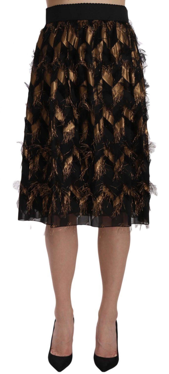 657844 Black Gold Fringe Metallic Pencil A Line Skirt.jpg