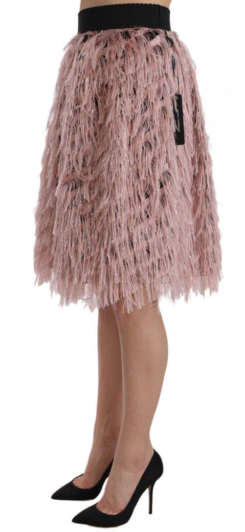 657889 Pink Gold Fringe Metallic Pencil A Line Skirt 2.jpg