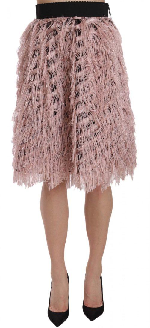 657889 Pink Gold Fringe Metallic Pencil A Line Skirt.jpg