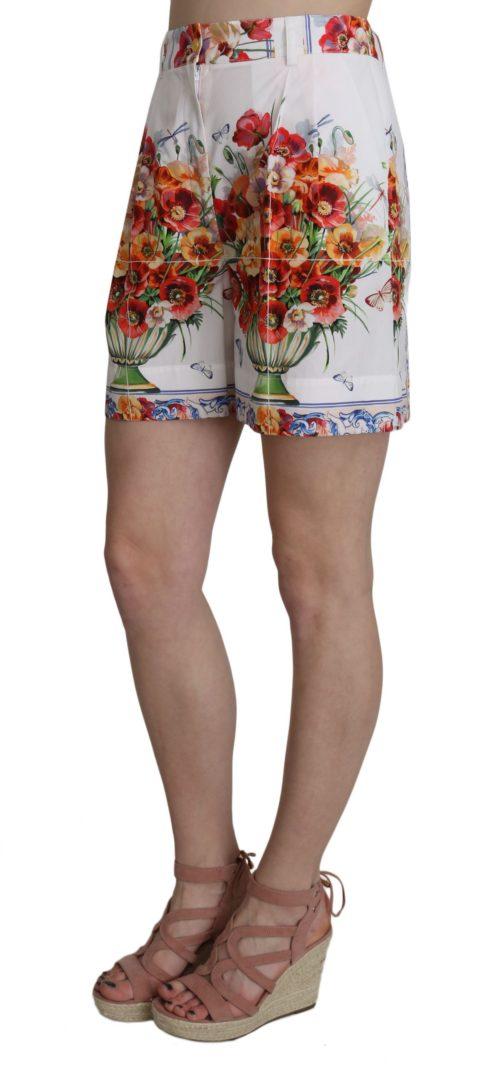 657964 High Waist Floral Print Cotton Majolica Shorts 1.jpg