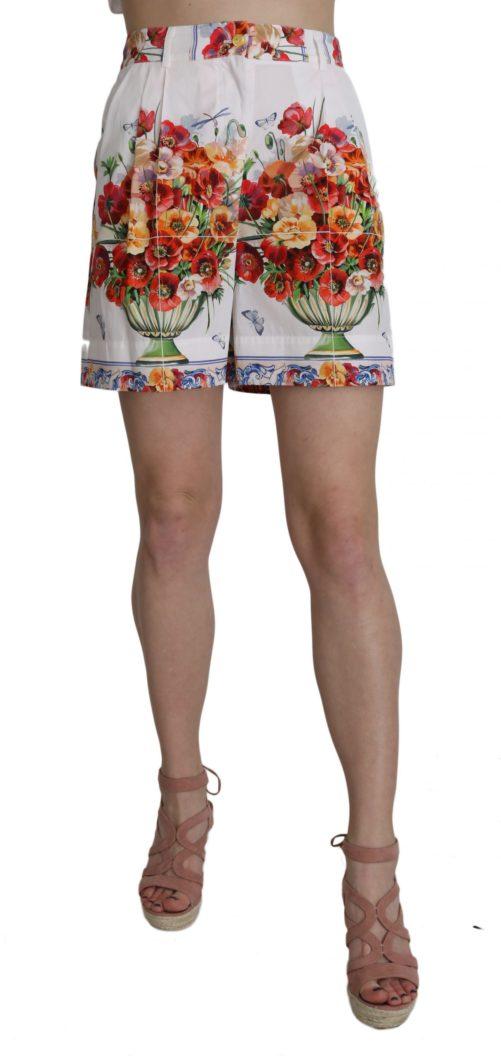 657964 High Waist Floral Print Cotton Majolica Shorts.jpg