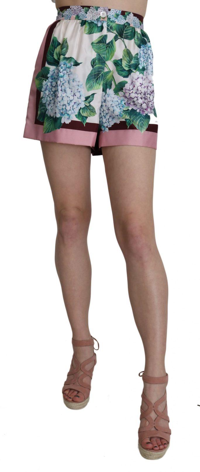 657993 Hydrangea High Waist Floral Print Silk Shorts.jpg