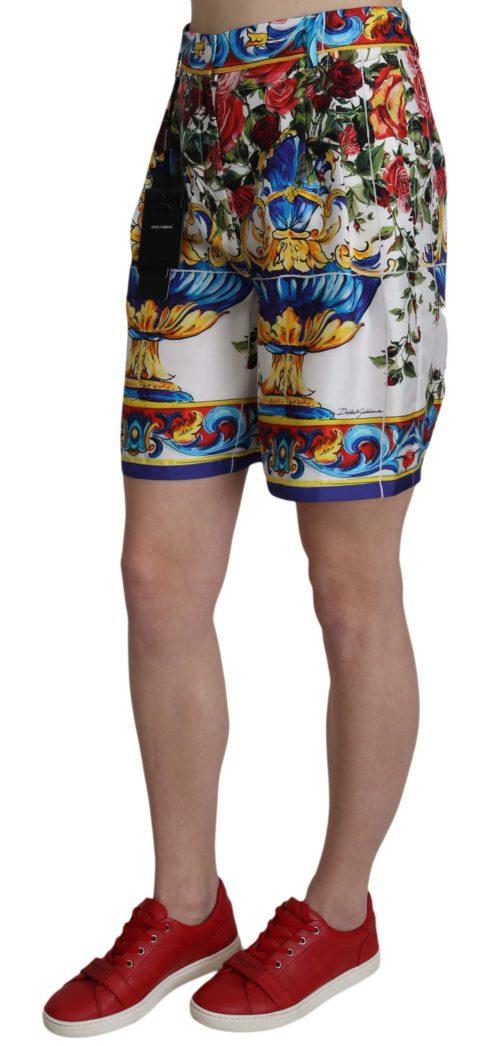 658058 Multicolor Print Silk City Majolica Shorts 1.jpg