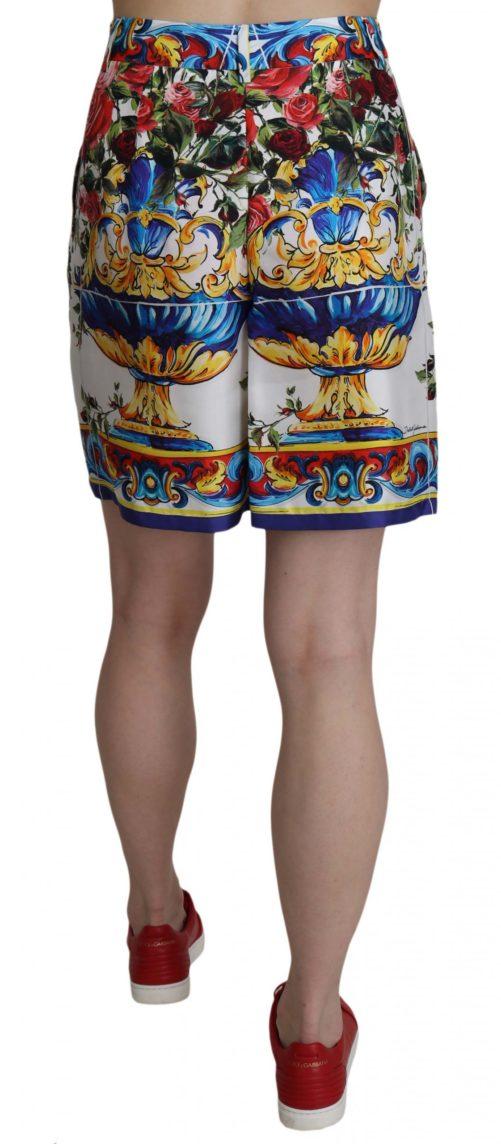 658058 Multicolor Print Silk City Majolica Shorts 2.jpg