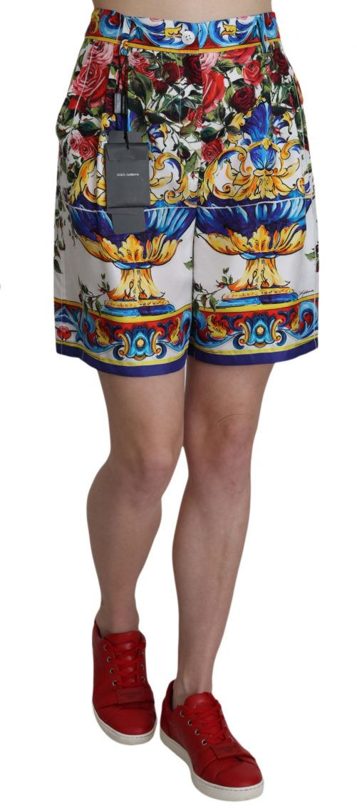 658058 Multicolor Print Silk City Majolica Shorts 3.jpg
