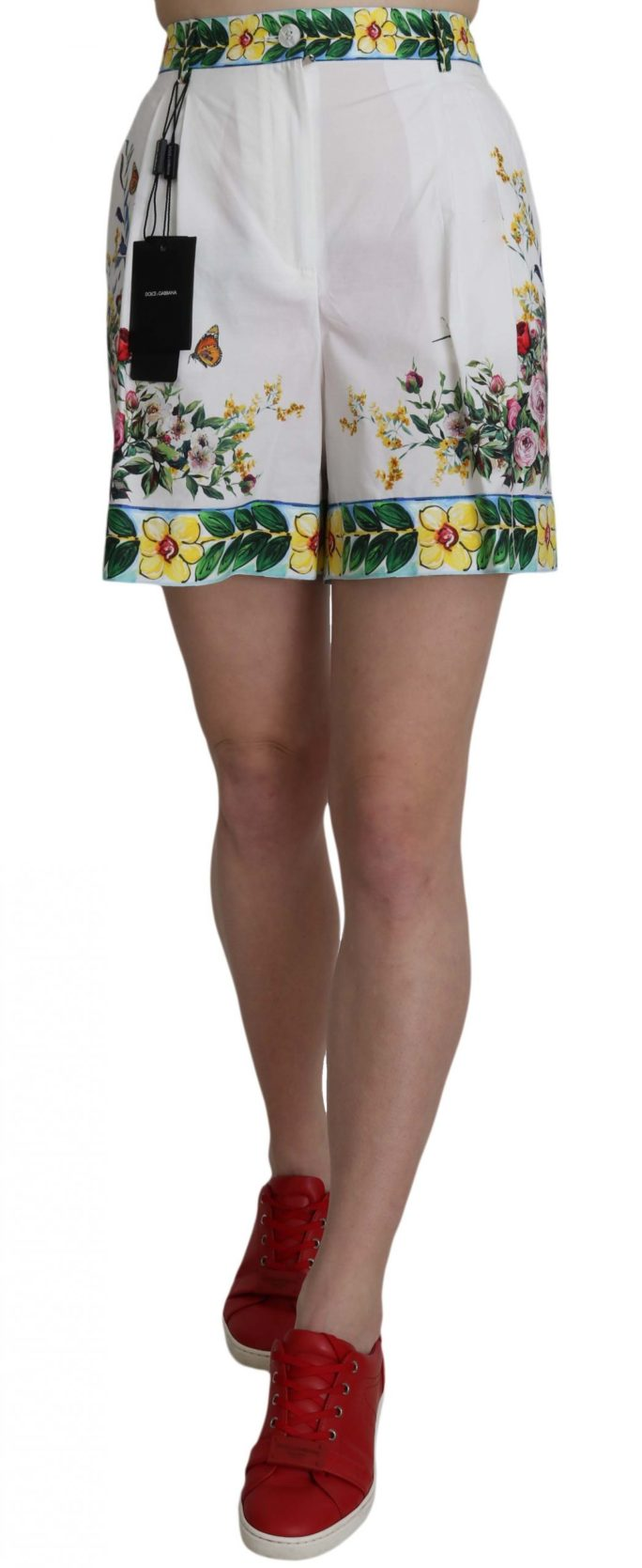 658075 Majolica Rose White Floral Print Cotton Shorts.jpg