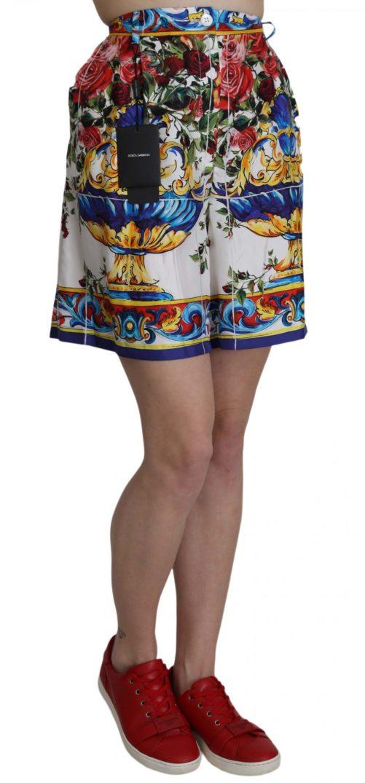 658154 Multicolor Floral Print Silk Mini Short 1.jpg