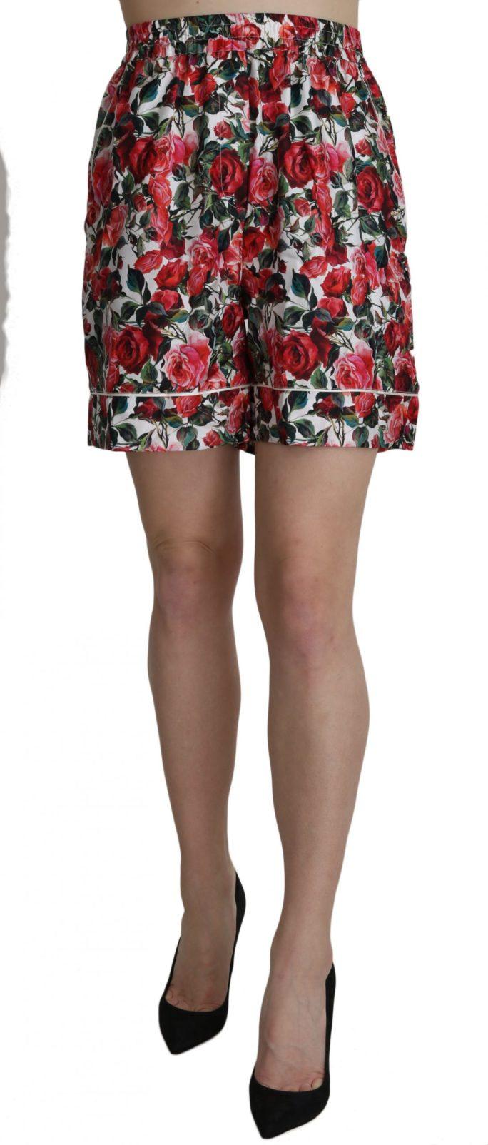 658180 Rose Print Garterized Silk Mini Shorts 3.jpg