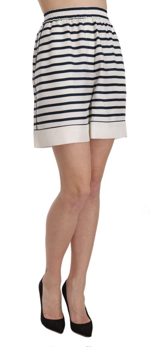 658213 Black White Stripe Garterized Silk Shorts 3.jpg