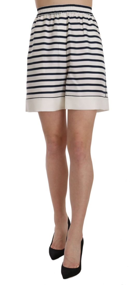 658213 Black White Stripe Garterized Silk Shorts.jpg