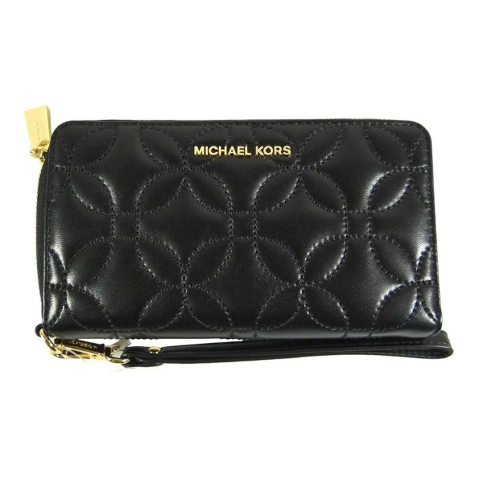 658257 Quilted Black Flat Mf Phone Case Leather Wristlet.jpg