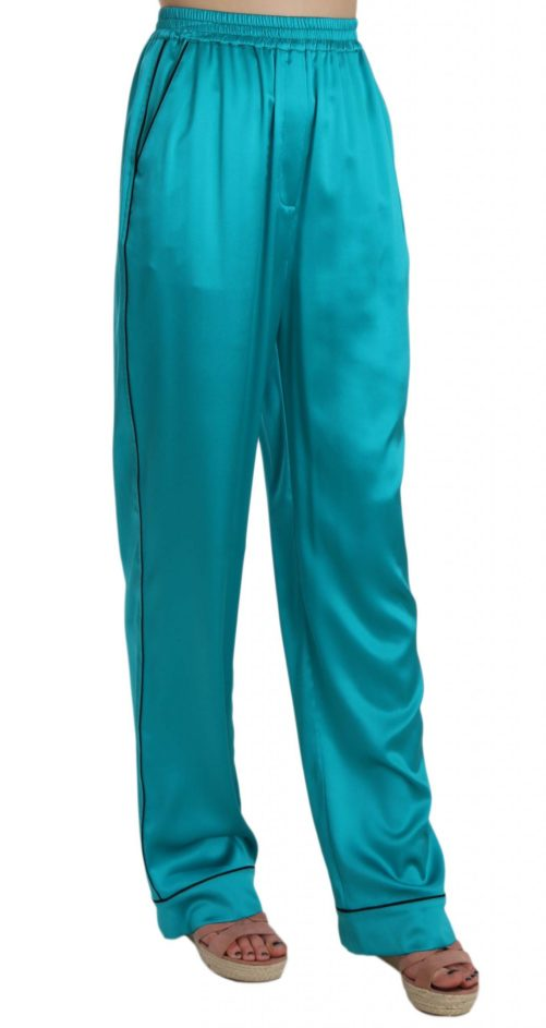 658356 Aqua Blue Silk Stretch Trousers Pyjama Pants 3.jpg