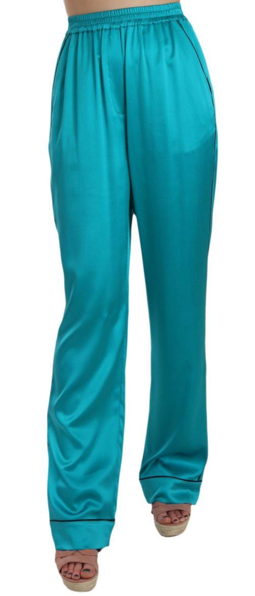 658356 Aqua Blue Silk Stretch Trousers Pyjama Pants.jpg