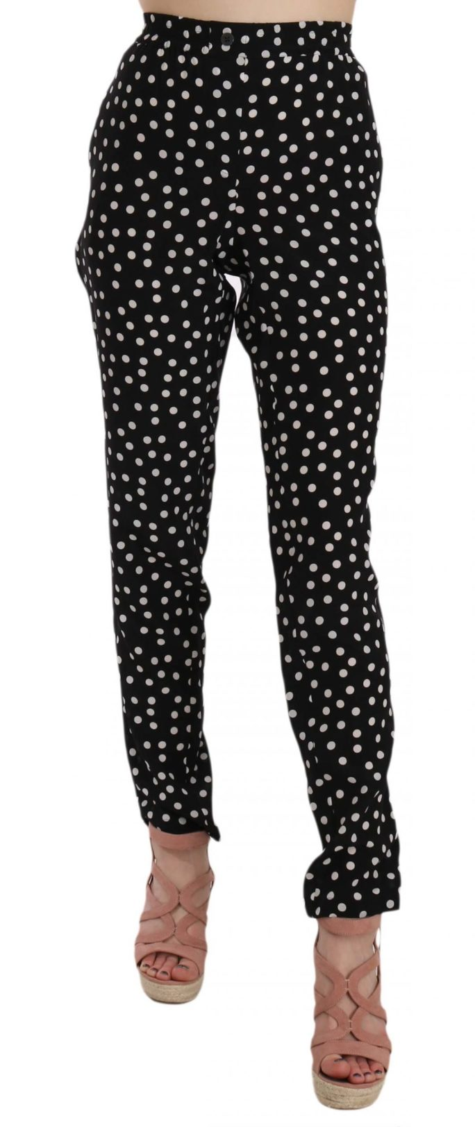 658452 Silk Slim Leg Black Polka Dot Print Pants.jpg