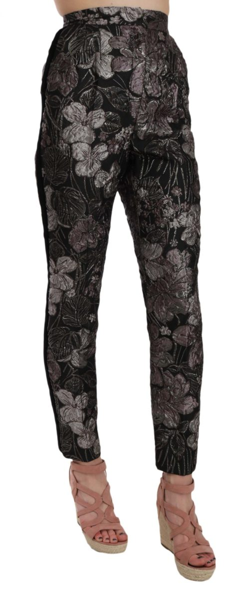 658486 Gray Floral Brocade High Waist Tapered Pants 1.jpg