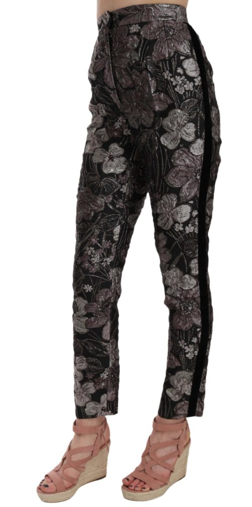 658486 Gray Floral Brocade High Waist Tapered Pants 2.jpg