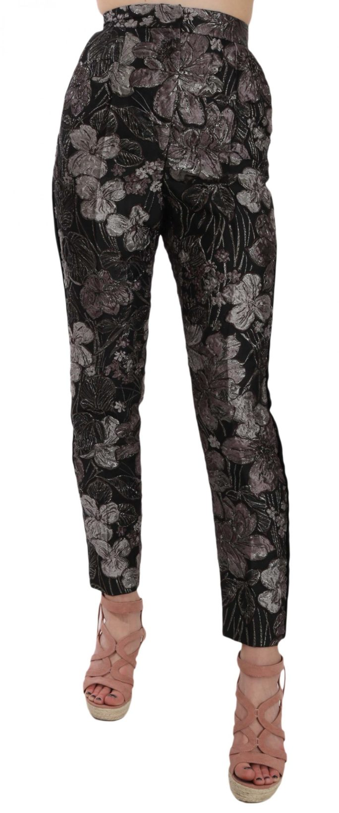658486 Gray Floral Brocade High Waist Tapered Pants.jpg
