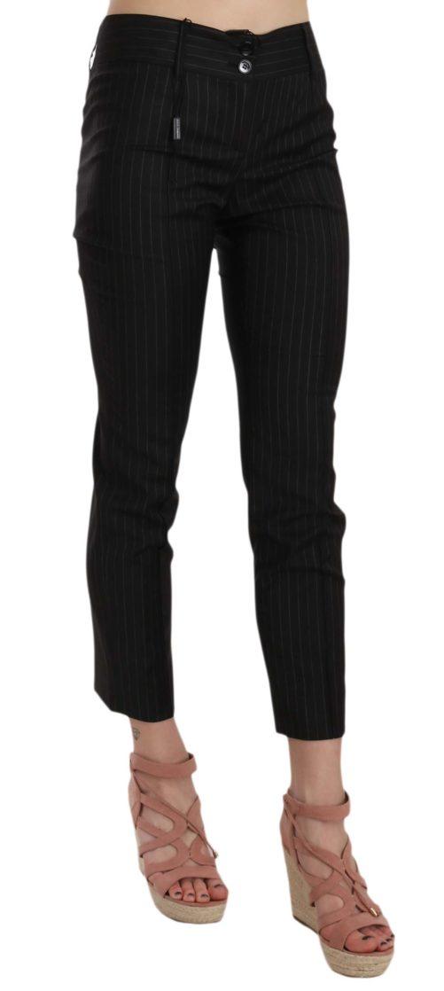 658503 Black Wool Skinny Striped Pinstripe Pants 1.jpg