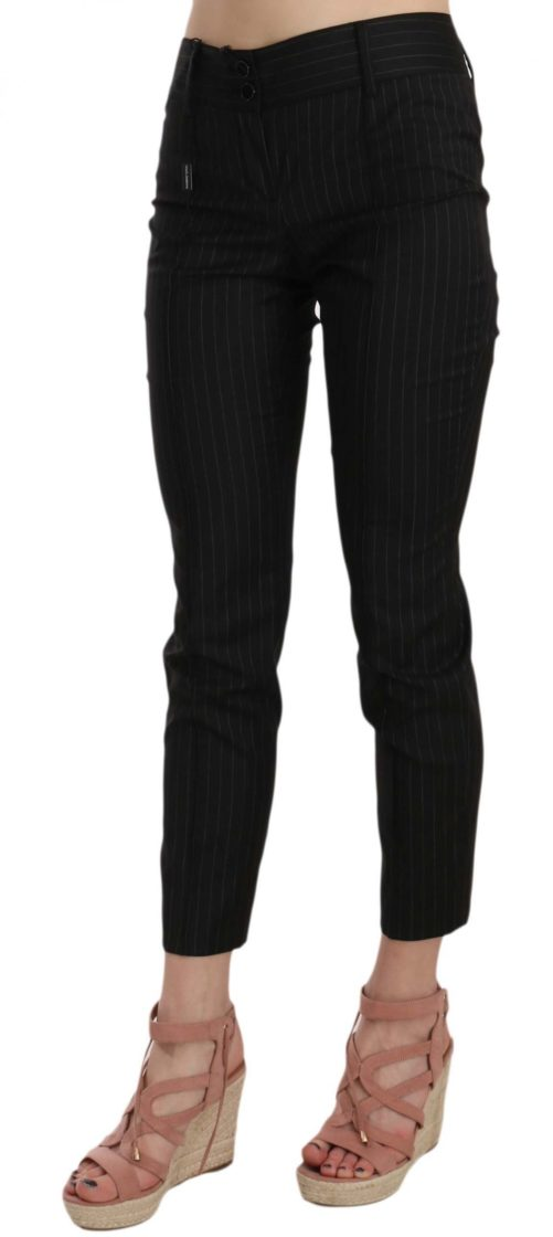 658503 Black Wool Skinny Striped Pinstripe Pants 2.jpg