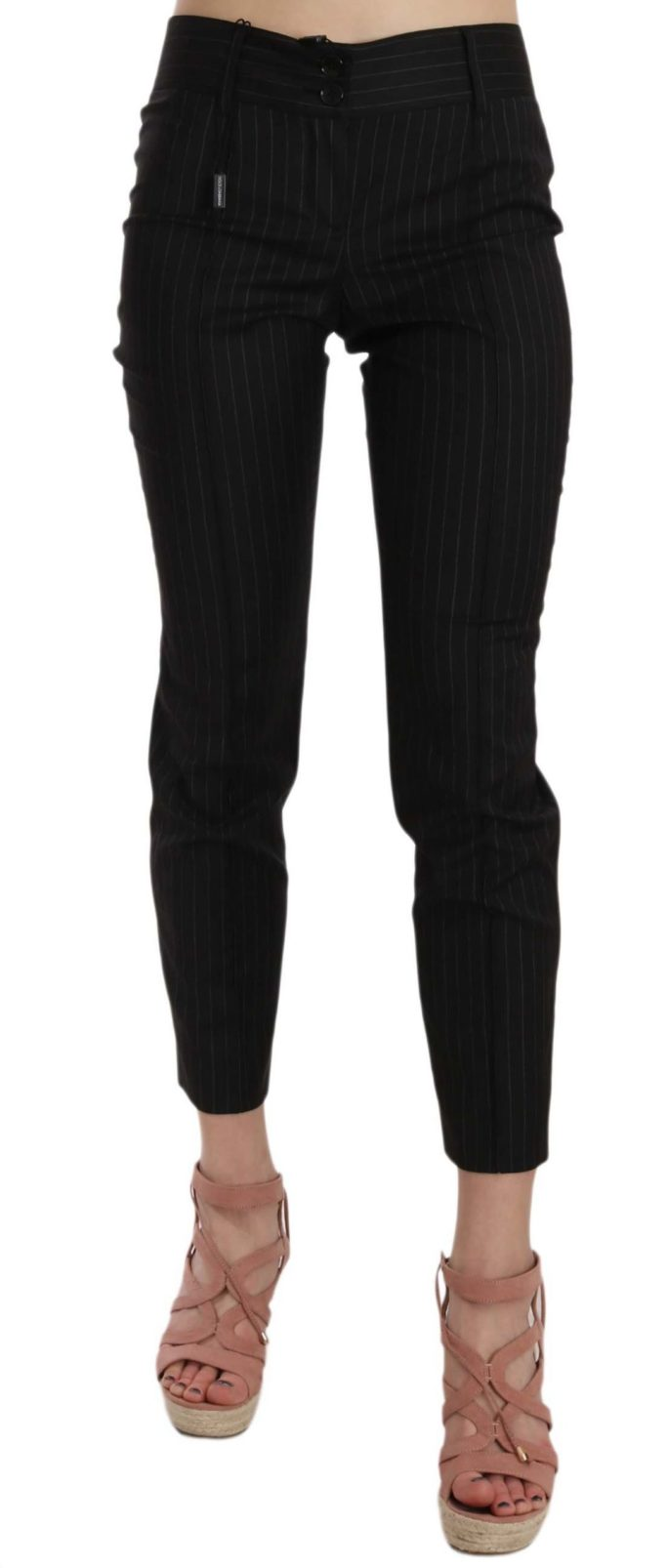 658503 Black Wool Skinny Striped Pinstripe Pants.jpg