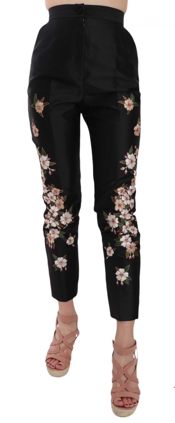 658519 Black Silk Floral Embroidered Trousers Slim Pants.jpg