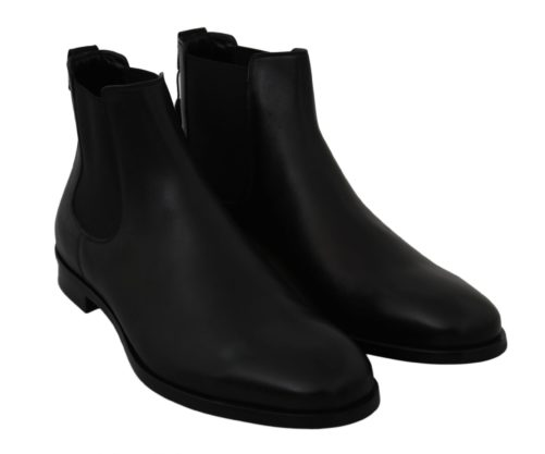 Black Leather Stretch Band Boots Derby Shoes, Fashion Brands Outlet