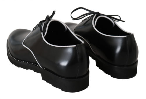 Black Leather White Line Dress Derby Shoes, Fashion Brands Outlet