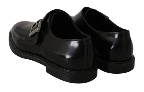 Black Leather Monkstrap Formal Dress Shoes, Fashion Brands Outlet