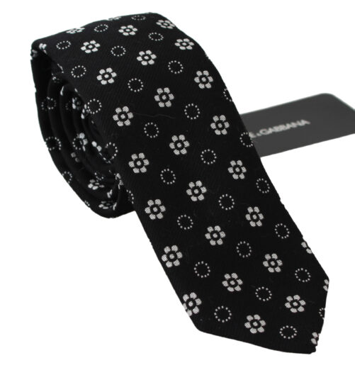 Black 100% Silk Floral Print Print Classic Tie, Fashion Brands Outlet