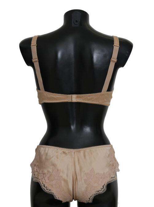 Beige Silk Floral Stretch Underwear, Fashion Brands Outlet