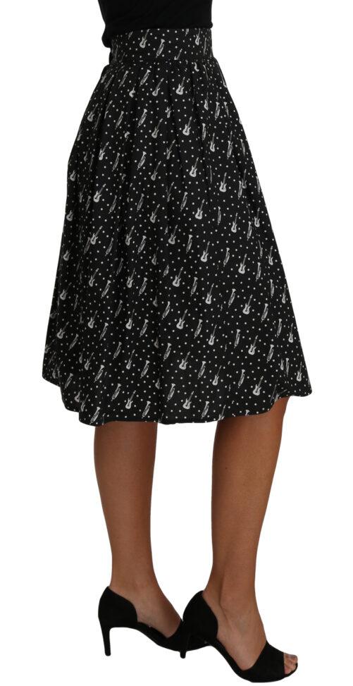 Black Guitar Print A-Line Pencil Skirt, Fashion Brands Outlet