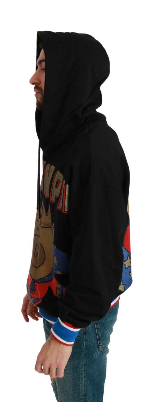 Black Sweater Pig of the Year Hooded, Fashion Brands Outlet