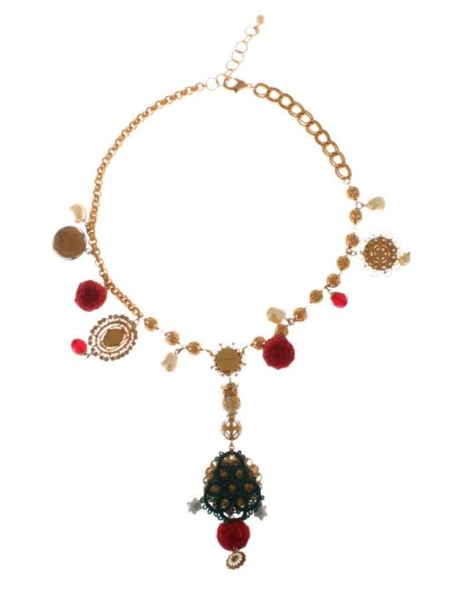 Gold Brass Crystal Floral Sicily Charms Chain Necklace, Fashion Brands Outlet