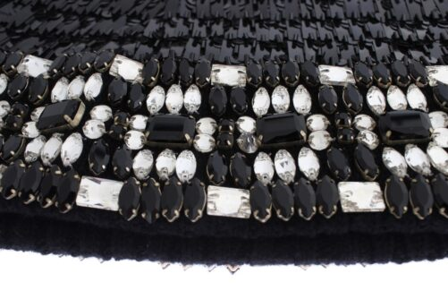 Black Knitted Wool Crystal Beaded Hood Scarf Hat, Fashion Brands Outlet