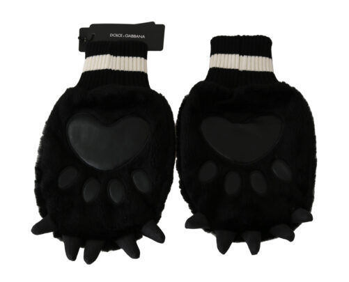 Black Paw Fur Knitted Elastic Wrist Band Gloves, Fashion Brands Outlet