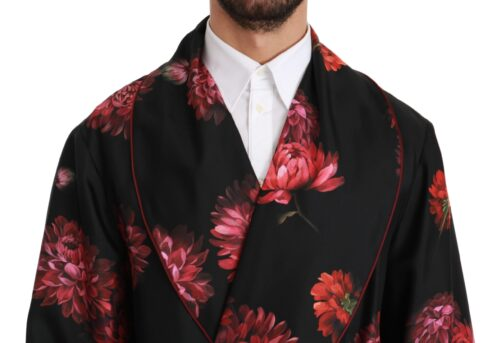 Black Red Floral Coat Kimono Silk Robe, Fashion Brands Outlet