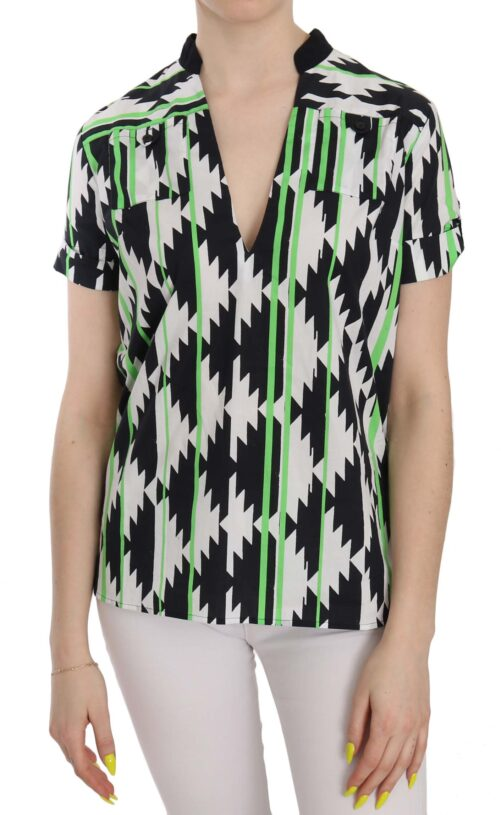 Multi Color Plunging Top Blouse, Fashion Brands Outlet