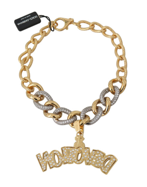Gold Strass Crystal Chain Statement Necklace, Fashion Brands Outlet