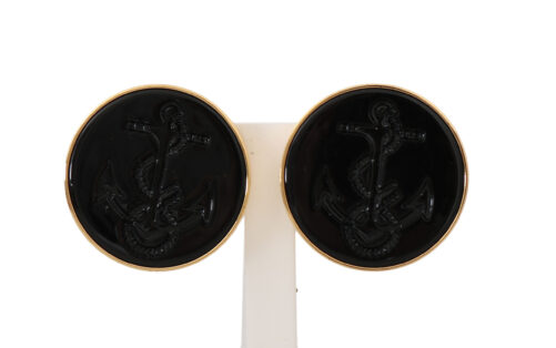 Gold Brass Black Anchor Clip On Accessory Earrings, Fashion Brands Outlet