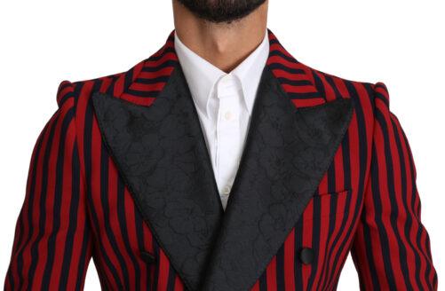 Black Red Striped Stretch Jacket Blazer, Fashion Brands Outlet